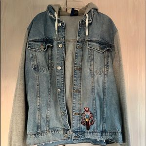 H&M Divided Denim Hooded Jean Jacket Unisex Sz L.
